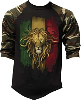 Interstate Apparel Inc Men's Grunge Rasta Lion Flag Tee Black/Camo Raglan Baseball T-Shirt Black/Camo