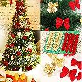 Dusenly Lot de 24 nœuds de Noël pour décoration d'arbre de Noël Rouge doré