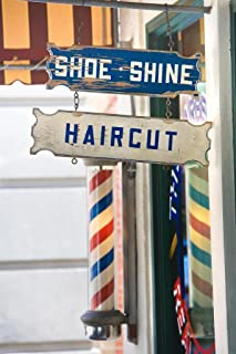 Old Fashioned Barber Shop Haircut and Shoe Shine Photo Art Print Laminated Dry Erase Sign Poster 24x36