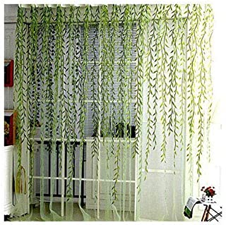 BROSHAN Tulle Window Curtain Panel, Spring Lovely Gauze Drapes with Vine Leaves Pattern for Indoor Outdoor Green Window Voile Treatments Rod Pocket,1 Panel, Extra Long