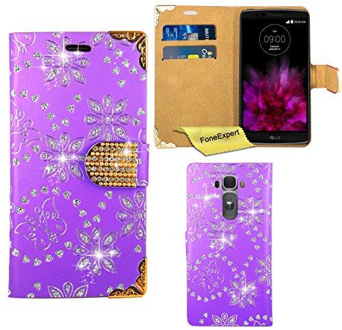 LG G Flex 2 Hülle, FoneExpert® Bling Luxus Diamant Hülle Wallet Hülle Cover Hüllen Etui Ledertasche Premium Lederhülle Schutzhülle für LG G Flex 2 + Bildschirmschutzfolie (Lila)