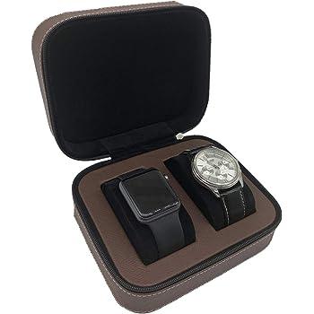 "DoDoLightness Watch Box for Men & Women 5.9""(D) x 4.5""(W) x 2.8""(H) Black/Red Brown"