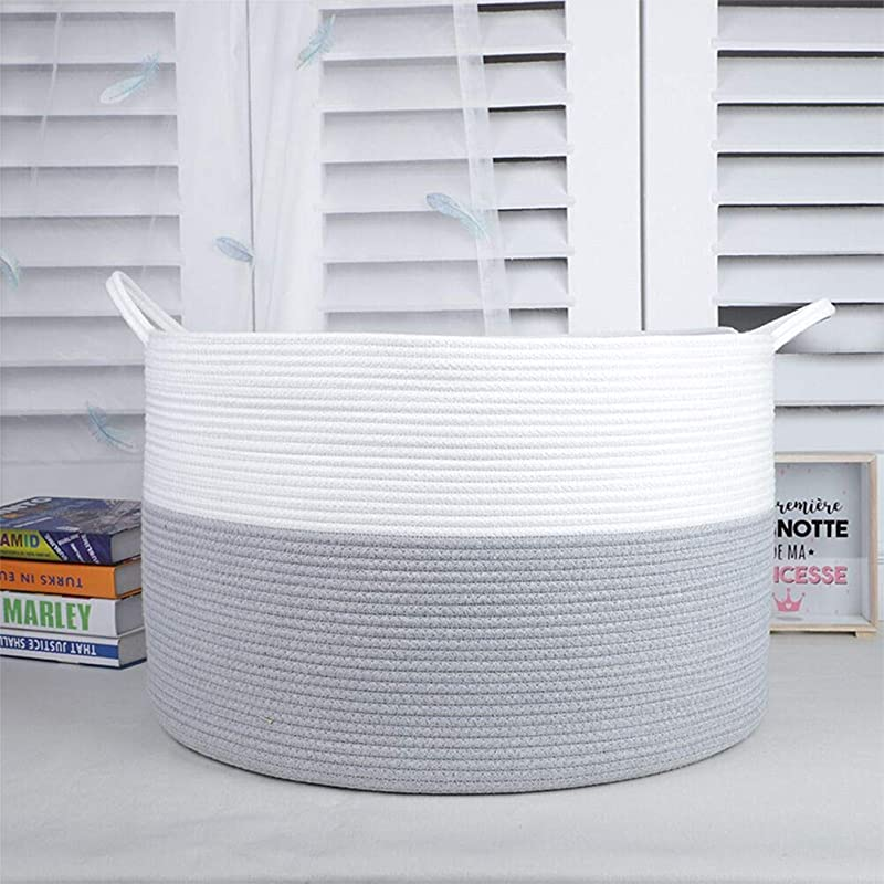 XXXLarge 55x55x35cm Cotton Rope Basket Large Storage Space Baby Laundry Basket In Order To Store Quilts Pillows Toys Clothes Etc