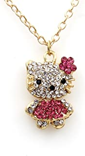 91eb3de82 Sweet Crystal Hello Kitty Sweater Chain with Swarovski Austrian Elements Crystal  Pendant Necklace Fashion Jewelry for