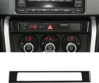 YAMUDA Compatible with Carbon Fiber Central Control Button Frame Clock Time Display Decoration Sticker Interior Accessorie...