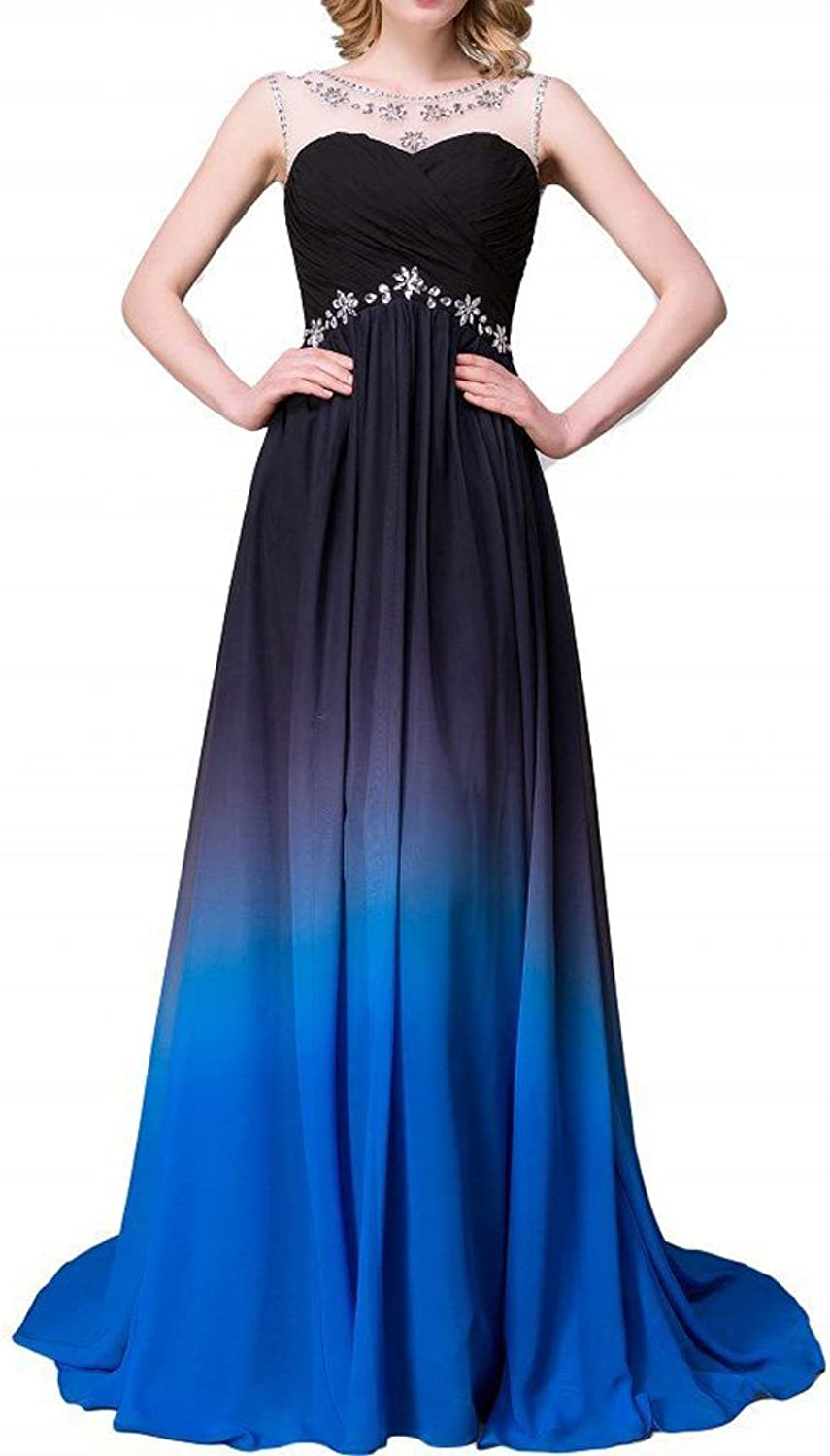 YanLian 2017 Gradient color Prom Evening Dress Beaded Ball Gown YL030
