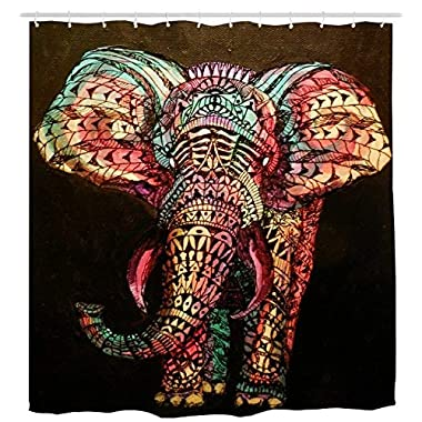 Ihome888 Elephant Shower Curtain, Waterproof Mildew Free Bathroom Curtains, 72 x 72 Inch, Colorful