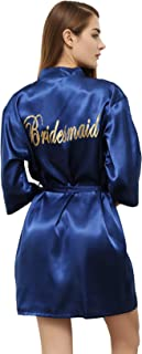 PROGULOVER Satin Kimono Robe for Women Bride Bridesmaid Robes Wedding Party with Gold Glitter