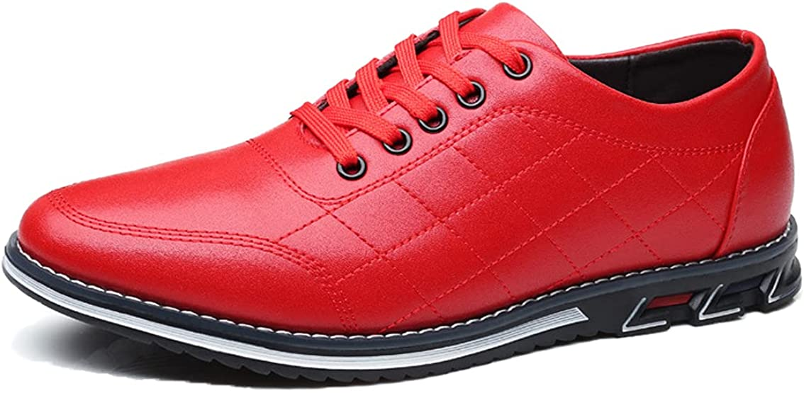 Veslesth Mens Topics on TV Lace-up Luxury Leather Loafers High order Sneakers Casual Com