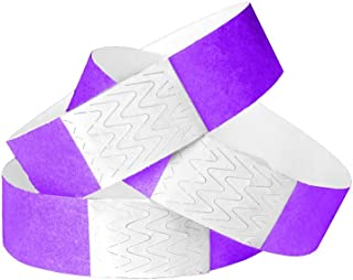WristCo Purple 3/4 Inch Tyvek Unnumbered 500 Count Paper Wristbands for Events