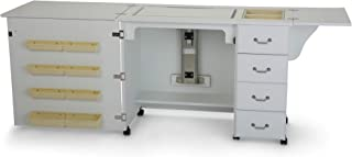 Arrow 351 Norma Jean Sewing Cabinet for Sturdy Sewing, Cutting, Quilting, and Crafting with Storage and Airlift, White Finish