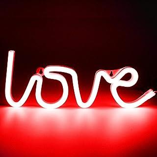 XIYUNTE Love Néon Enseignes lumineuses Décoration murale, Batterie et USB alimenté Rouge Amour Néons Applique murale Intér...
