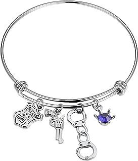 AKTAP Thin Blue Line Police Officer Gifts Police Wife Mom Bracelet Deputy Wife Girlfriend Jewelry Police Gifts Sheriff Gifts
