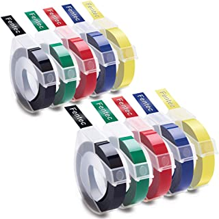 Fentec Compatible Label Tape Replacement for DYMO 3D Plastic Embossing Label Tape 3/8 Inch Self-Adhesive Labels for DYMO E...