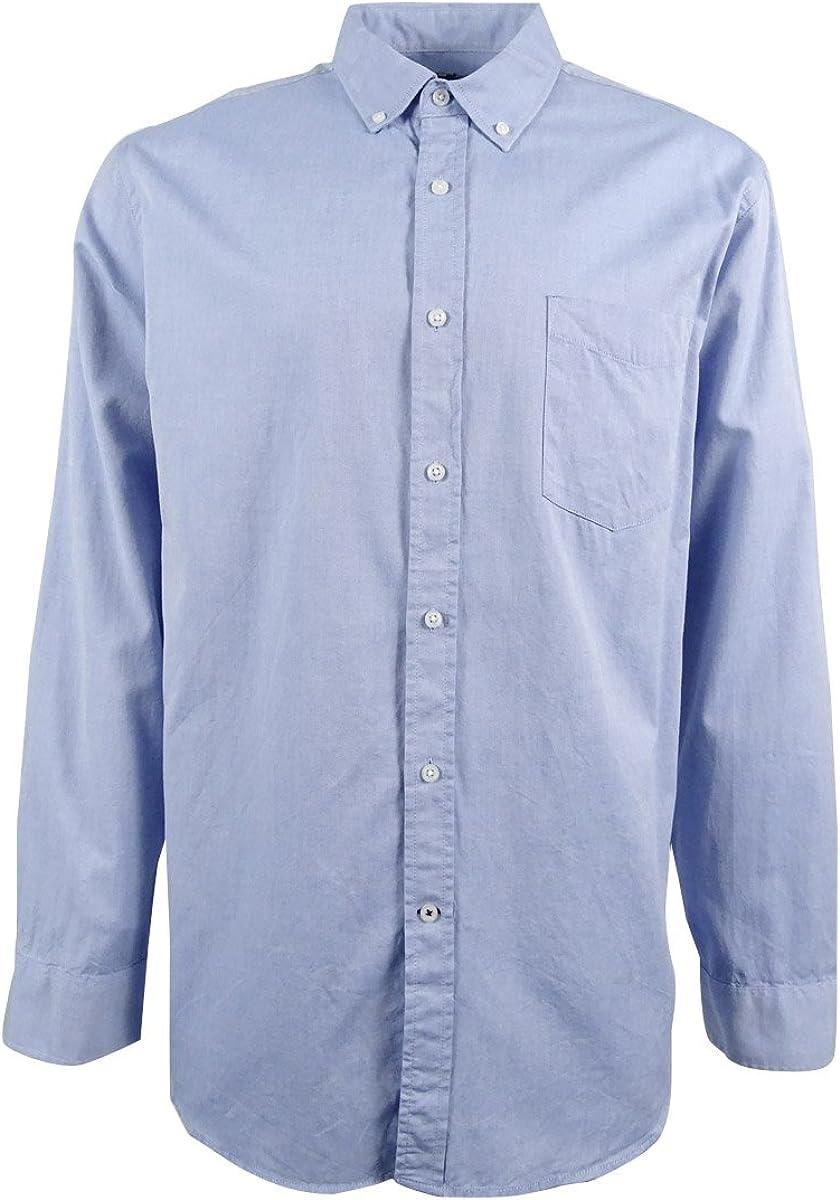 Club Room Mens Cotton Pindot Button-Down Shirt Blue XL
