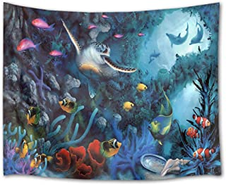 HVEST Sea Turtle Tapestry Tropical Fish Dolphins and Coral Reef in Deep Sea Wall Hanging Underwater Animal Tapestries for Kids Bedroom Living Room Dorm Decor Birthday Party Background,80Wx60H inches