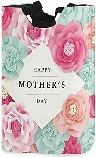N\A Grand Sac de Panier à Linge Pliable avec poignées, boîte de Panier à Linge de Fleurs colorées de fête des mères Heureu...