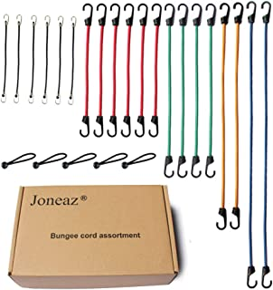 Joneaz Bungee Cords with Hooks, Heavy Duty Tie Down Cord Assortment, UV Resistant,24 Piece
