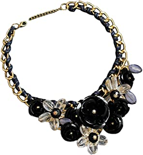Women Mixed Style Chain Crystal Colorful Flower Luxury Weave Necklace