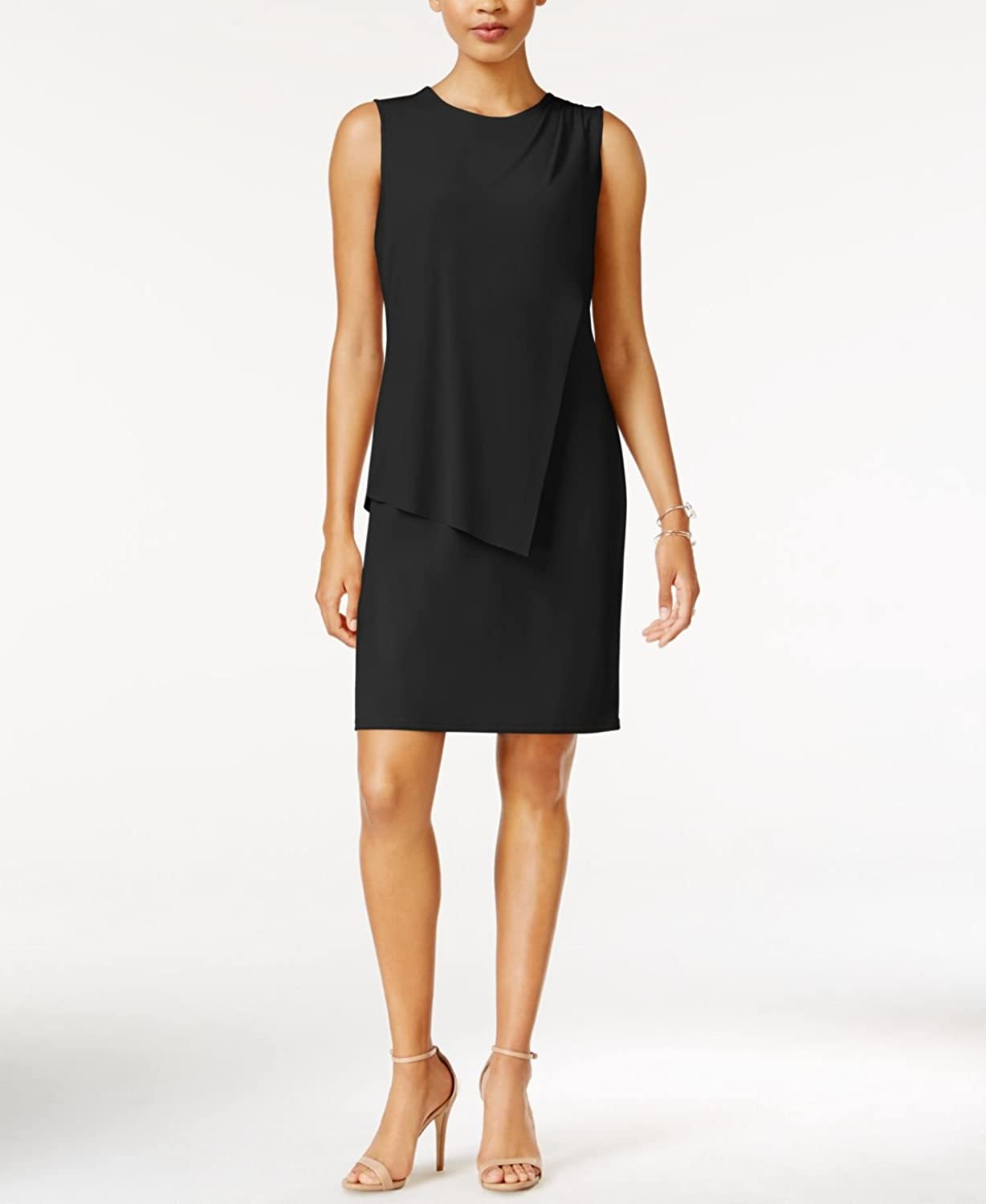 Bar III Draped Sheath Dress Black Small