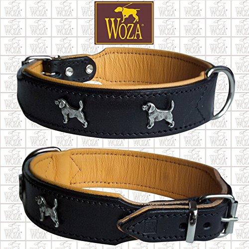 Woza HUNDEHALSBAND Beagle Vollleder MIT RINDNAPPA GEBUGGT Collar ОШЕЙНИК SCHWARZ/Cognac 3.3/47CM
