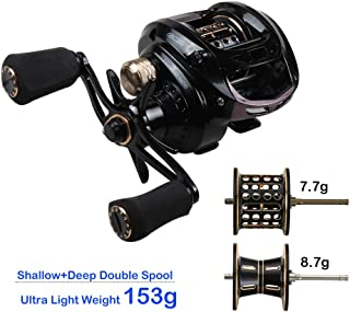 JOHNCOO Ultra Light BFS Baitcasting Fishing Reel with Spare Spool for UL Fishing 6.5:1 Smooth Casting Reel Drag 8kg