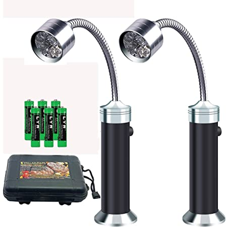 Barbecue Grill Light Magnetic Base Super-Bright LED BBQ Lights - 360 Degree Flexible Gooseneck, Weather Resistant, Batteries Included -2 Packs