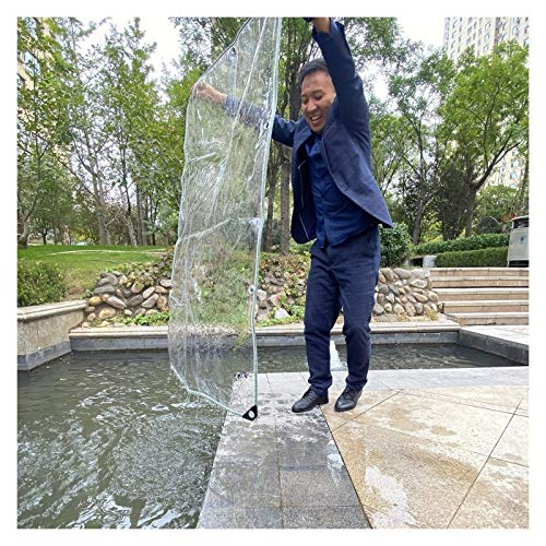 YJFENG Lona Impermeable De Alta Resistencia, Película Suave De PVC Transparente De 0,5 Mm, Resistente A La Intemperie, Mantiene El Calor, Bordes Verdes, para Balcón, Jardín
