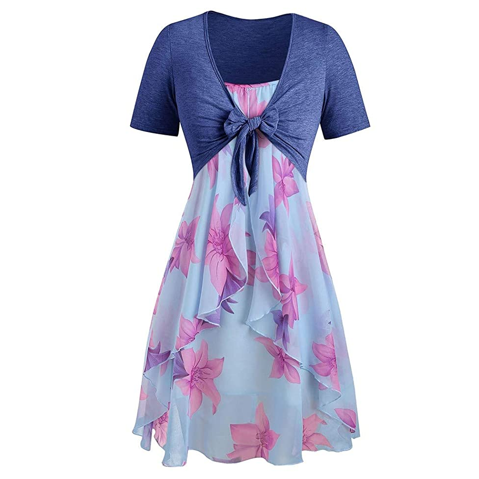 WEISUN Women Summer Dresses Plus Size Maxi Dress Short Sleeve Sunflower Print Mini Dress Sundress Bow Knot Bandage Top