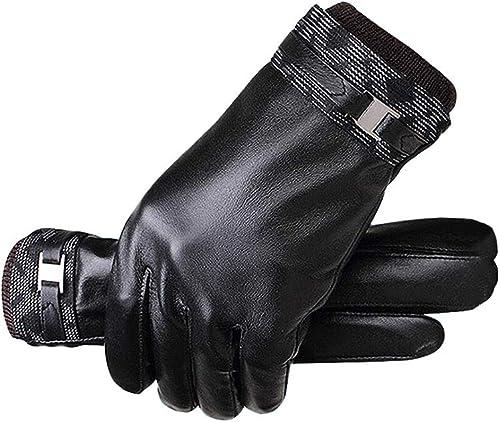 T-S Gant Gants en Cuir pour Hommes Hiver Plus Gants De Mode en Velours Chaud Et Confortable Noir ++
