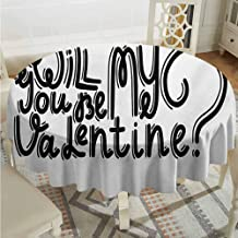 Lauren Russell Wedding Round Tablecloth Quote Be My Valentine Theme Romantic Message Monochrome Valentines Day Script Design Black and White Outdoor Picnics Diameter 70