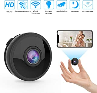 Mini cámara WiFi inalámbrica Full HD 1080P con 6 luces infrarrojas de visión nocturna detección de movimiento mando a distancia 150° gran angular admite tarjeta SD de 128 GB