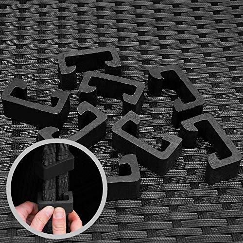 Deuba Poly Rattan Aluminium Lounge Set Schwarz Bild 5*