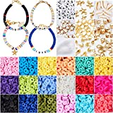 4800 Pcs Flat Round Polymer Clay Spacer Beads for Jewelry Making Bracelets Necklace Earring DIY Craft Kit with Pendant and Jump Rings - Creat 30-40 Pack Bracelets (6mm 18 Colors Beads)