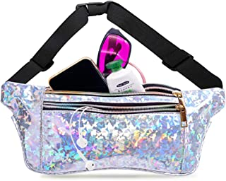 Women Girls Holographic Fanny Pack Festival Travel Hiking Party Shiny Waist Pack
