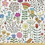 Lunarable Floraler Stoff von The Yard, Doodle Art Stil