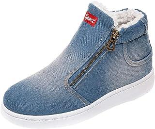 AIMTOPPY, Women Letter Denim Zipper Thick Warm Winter Flat Snow Boots Round Toe Shoes