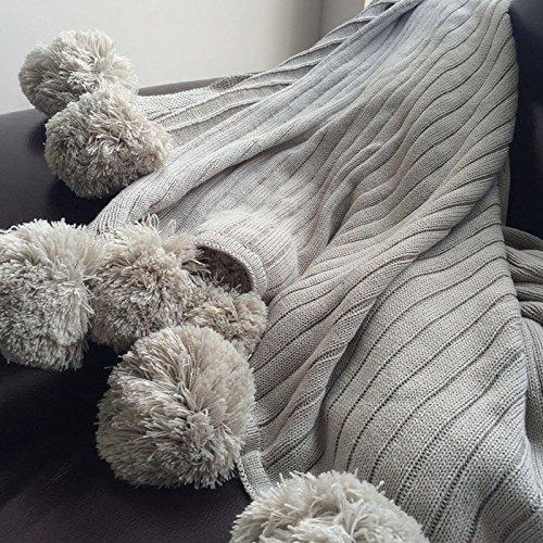 ブランケット ポンポン 毛布 ブランケット ひざ掛け シングル 綿100%掛け毛布 じゅうたん おしゃれ 100%コットン 北欧風 ブランケット ニット ポンポン ふわふわ 柔らかい 暖かい(100*105cm, グレー)