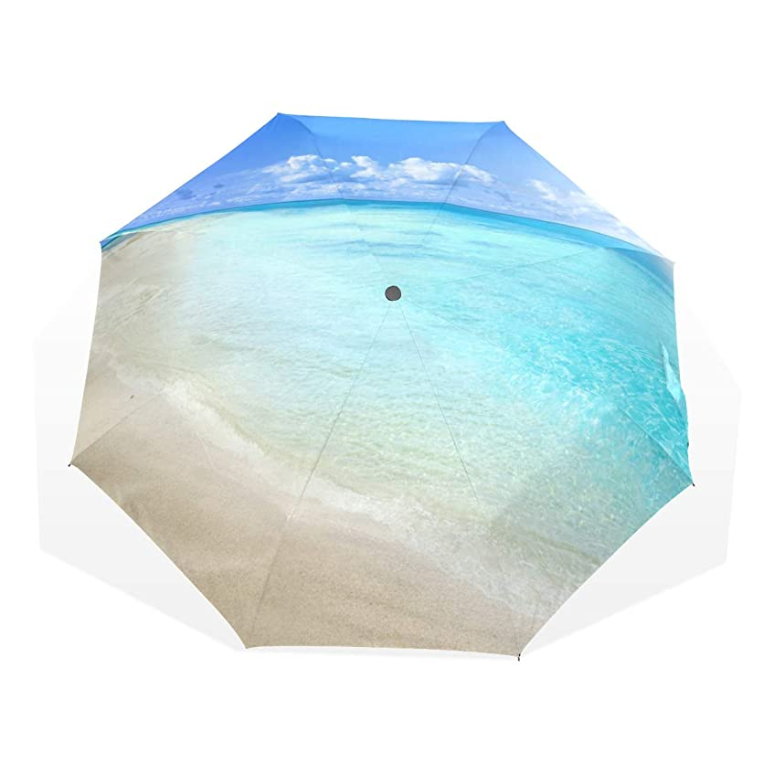 床を掃除する出撃者ヒープSAMAU 折りたたみ傘 青空 ハワイ 海 風景 手開き レディース 軽量 おしゃれ 丈夫 梅雨対策 耐風撥水 収納ポーチ付き