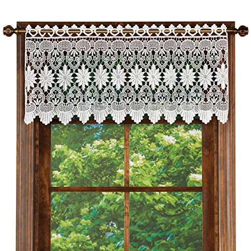 Collections Etc Macrame Curtain Scalloped Valance Window Topper for Bathroom, Bedroom, Kitchen, White