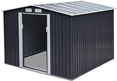 JAXPETY 8' x 8' Outdoor Gable Steel Storage Shed, Lawn Mower Equipment House with Lockable Sliding Door, Large Tool Organizer