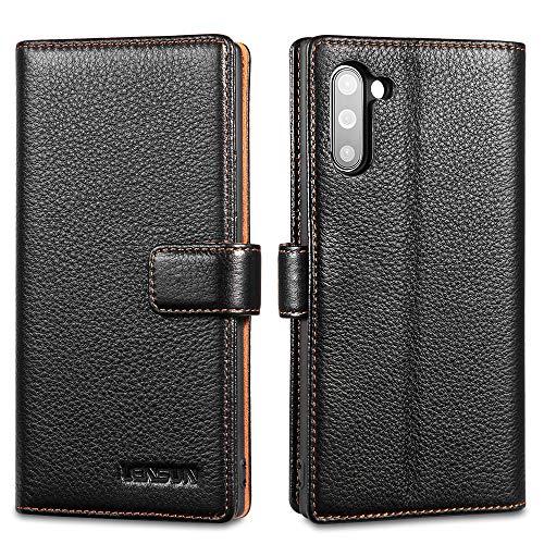 LENSUN Echtleder Hülle für Samsung Galaxy Note 10, Leder Handyhülle Kartenfächer Handytasche Lederhülle kompatibel mit Samsung Galaxy Note 10 (6,3 Zoll) – Schwarz(N10-LG-BK)