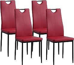 Albatros Krzesła do jadalni SALERNO, zestaw 4 sztuk, czerwone, sprawdzone przez SGS