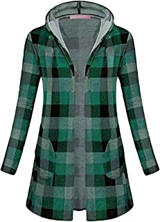 Women Fashion Plaid with Side Pockets Open Front Hooded Long Sleeve Coats Jacket Tops
