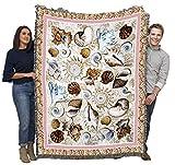 Seashells - Helen Vladykina - Cotton Woven Blanket Throw - Made in The USA (72x54)