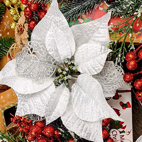 Toopify 10Pcs White Christmas Glitter Poinsettia Flowers Picks Christmas Tree Ornaments with Stems for Christmas Wreaths Garland Holiday Decoration