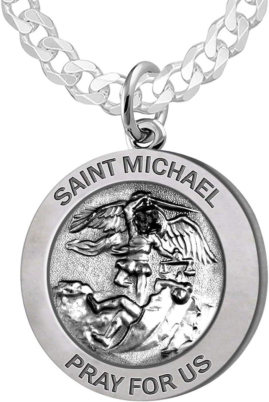 US Jewels Men's 925 Sterling Silver Saint Pen 40%OFFの激安セール 25mm Round 卓越 Michael