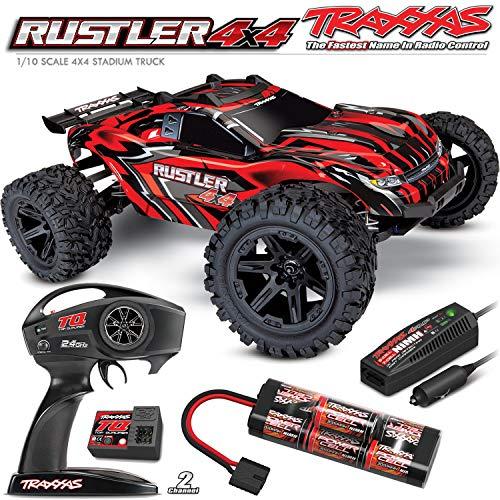 Traxxas RUSTLER - 4x4 -Rosso - 1/10 Brushed Stadium Truck TQ 2.4GHZ - 67064-1