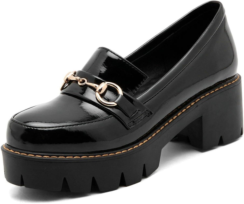 AIWEIYi Womens Round Toe Square High Heels Platform Pump shoes Black