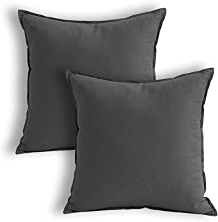 Jeanerlor Pack of 2 24x24 Square Cool Cotton Linen Decorative Throw Pillow Covers Set Cushion Case for Sofa/Bedroom/Car 60 x 60 cm,Dark Grey